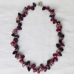 Maroon Color Stones with Crystal Beads Necklace